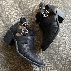 Faux Leather sliced buckle ankle booties